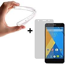 BeScreen - Funda Gel Flexible Elephone P7000 [ +1 Protector Cristal Vidrio Templado ] Carcasa Case Silicona TPU Suave