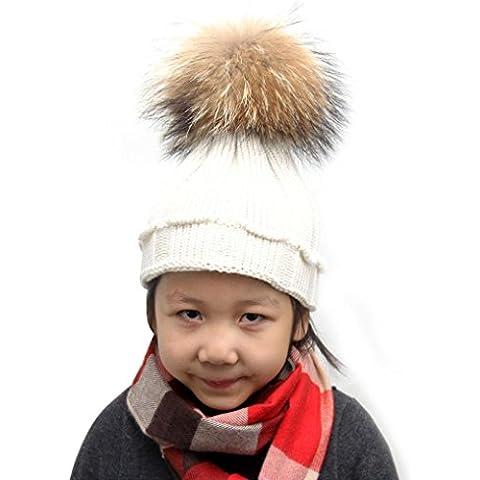 Tefamore Sombreros niños bebé de piel de mapache de lana