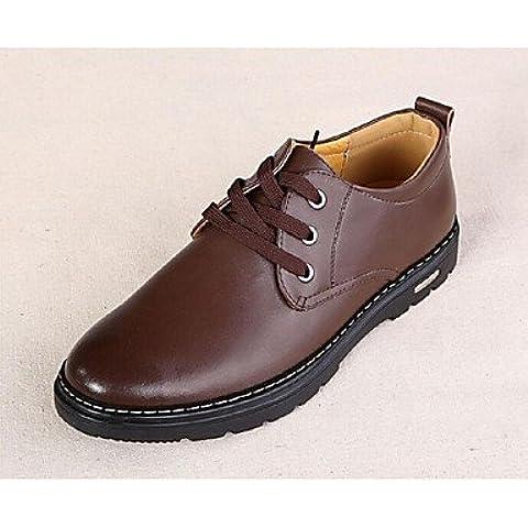 Zapatos de hombre de cuero marrón Oxfords casuales marrón-us8.5-9 / ue41 / Reino Unido /7.5-8