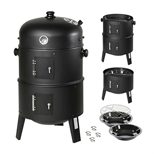 JUNEO BBQ Grill 3 In 1 BBQ Charcoal Grill Round Smoker Grill With Heat Indicator Thermometer Portable Outdoor Barbecue Smoker Black