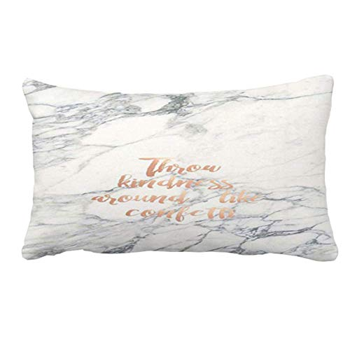 Gold Rose Quote White Marble Pillow Cover Case for Couch Sofa Home Decoration 20 x 30