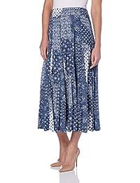 Roman Originals Womens Blue Patchwork Print Burnout Summer Midi Skirt