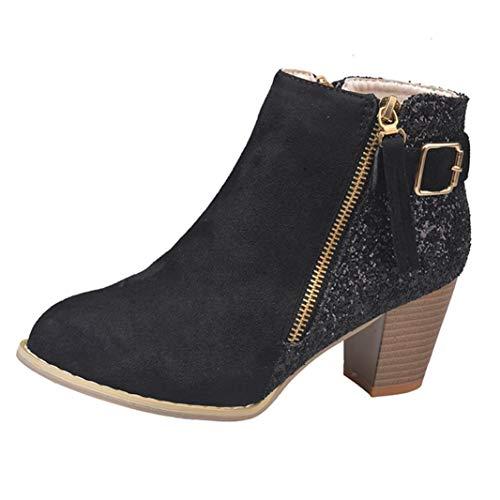 Frashing Neuer Herbst und Winter Pailletten-Booties Frauen Booties Schuhe mit Mittlerem Absatz Runde Zehe Schuhe Damen Stiefeletten Cowboy Western Stiefel Boots