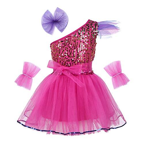dPois Mädchen Tanz Kleidung Outfit Set Glänzend Pailletten Tanzkleid Ballettkleid mit Kopfbedeckung und Armband Ballettkleidung für Performance Party Gr.98-164 Rose Red 122-128/7-8Jahre