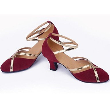 XIAMUO Nicht anpassbar - Die Frauen tanzen Schuhe moderne Wildleder Ferse Andere burgund