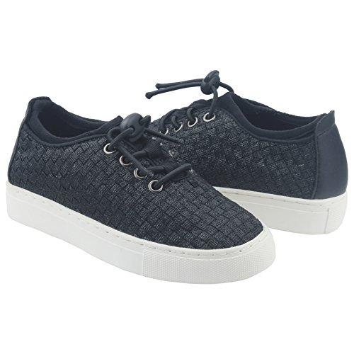 MINIRAH! Boys Girls Black Lace Up Skate Shoe Comfort Fashion Sneaker Schwarz