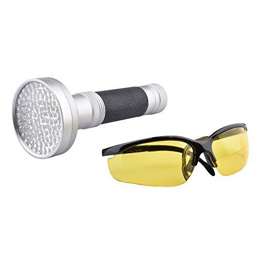Menea 100LED UV-Taschenlampe Blacklight Taschenlampe mit UV-Schutzbrille Pet Fleck Urin Detektor für Scorpions, Bettwanzen, Auto Freon auslaufen, Baby Kleidung, Küchen, Badezimmer, Währung Authentifiziert (Authentifiziert)