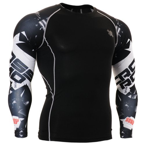 Fixgear Sports Homme Femme Compression Black Baselayer Manches Longues Tee Shirt