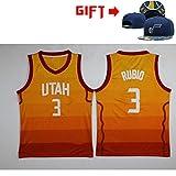 HWHS316 Utah Jazz # 3 Ricky Rubio Uniformes de Baloncesto Chaleco Deportivo Competición Entrenamiento Traje de Bola Transpirable Fácil de secar (Sombrero como Regalo para ti),Yellow,XL180~185CM