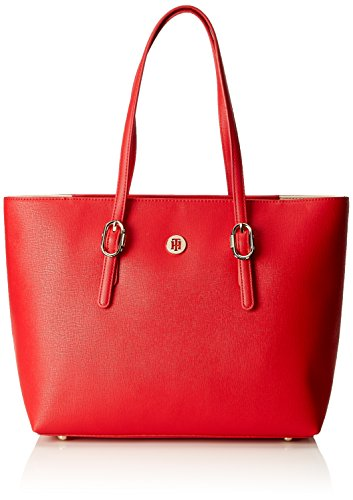 Tommy Hilfiger - Th Buckle Tote, Shoppers y bolsos de hombro Mujer, Rojo (Tommy Red), 14x27x40 cm (B x H T)