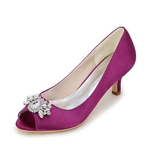 Elegant Tacchi Da Donna Primavera Estate Primavera Estate Seta Nozze Casual Party & Sera Stiletto Heel Rhinestone Sliver Rosso Blu Bianco Viola Purple
