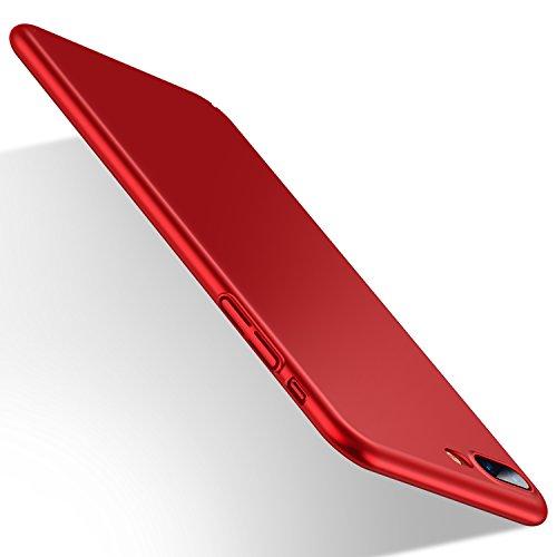 Funda iPhone 8 Plus, Funda iPhone 7 Plus, HUMIXX Alta Calidad Ultra Slim Anti-Rasguño y Resistente Huellas Dactilares Totalmente Protectora Caso de Plástico Duro Cover Case (iPhone 7/8 Plus, rojo)[Skin Series]