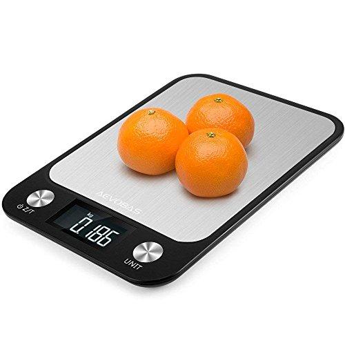 AEVOBAS Küchenwaage, Digitale Küchenwaage, 5kg x 1g, Digitalwaage klein, Elektronische Waage, Briefwaage aus Edelstahl, LCD Display, mit 7 Wiegeeinheiten, Tara-Funktion, Automatische Abschaltung