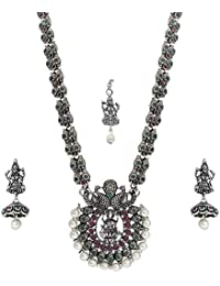 Matushri Art Temple Jewelry of God Laxmi Dancing Peacock Antique German Oxidised Silver Plated Jewellery Set for Women