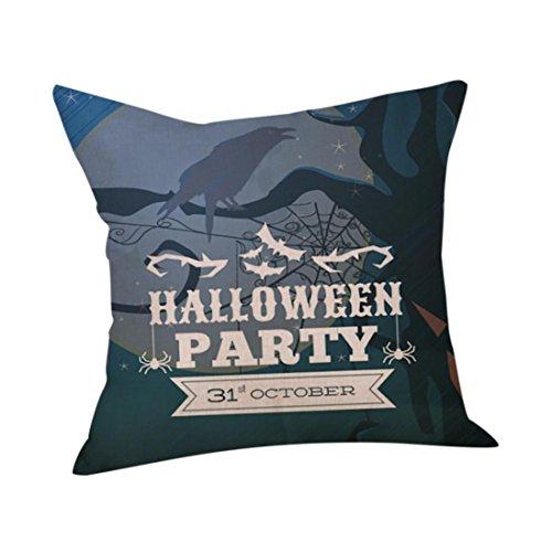 RWINDG Happy Halloween Kissenbezüge Leinen Sofa Kissenbezug Home Decor Kissenbezug kissenhülle Kopfkissenbezug Bettkissenbezug Pillowcase