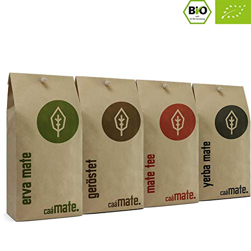 Bio Mate Tee Probierset | 4 verschiedene Matetee Sorten zum ausprobieren | 250g frische Erva Mate + 250g gereifte Yerba Mate + 200g frischer Matetee + 200g gerösteter Matetee