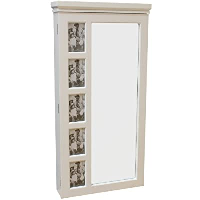 Hartleys White Wall Mounted Mirror & Jewellery Organiser Cabinet