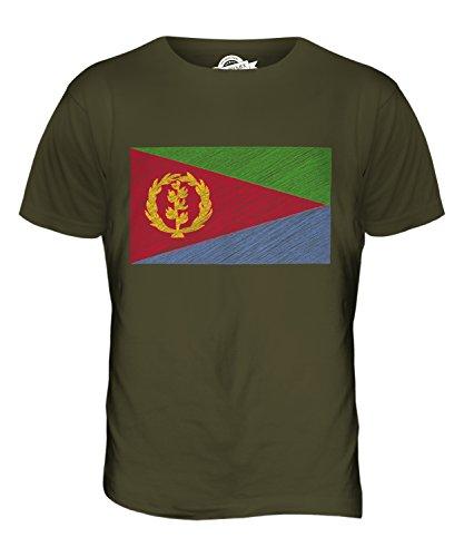CandyMix Eritrea Bandiera Scarabocchio T-Shirt da Uomo Maglietta Verde oliva