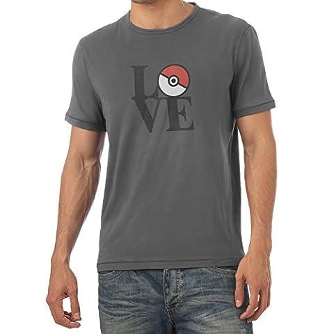 TEXLAB - Poke Love - Herren T-Shirt, Größe L, grau