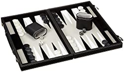 Philos 1731 - Backgammon Filzinlet grau-weiß-schwarz, medium, Koffer Kunstleder