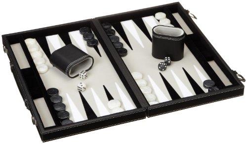 Preisvergleich Produktbild Philos 1731 - Backgammon Filzinlet grau-weiß-schwarz, medium, Koffer Kunstleder