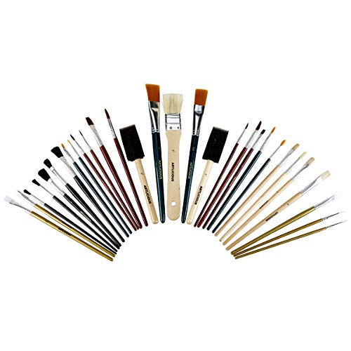 Artlicious - All Purpose Paint Brush Value Pack - Great with Acrylic, Oil, Watercolor, Gouache (30 Brushes)