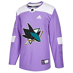 adidas San Jose Sharks NHL Hockey Fights Cancer Men's Authentic Practice Jersey