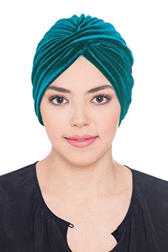 Deresina Headwear Velours Kreuz Turban für Haarausfall | Kiefer grün
