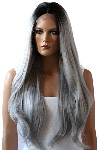 PRETTYSHOP Ombre Lace Front Wig Perücke langhaar aus hitzebeständiger Japanischer Kunstfaser Grau mix (Japanische Perücke)