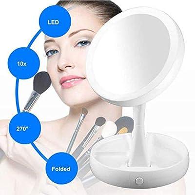 WEKNOWU Make-up Spiegel Falten LED Wht 10x Vergrößerungs Beleuchtete Kosmetikspiegel mit Natürlichen Weißen LED