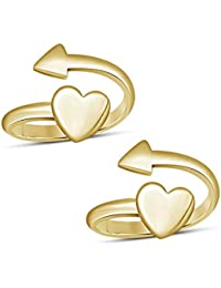 Dividiamonds Women's 14K Yellow Gold Fn 925 Sterling Silver Heart & Arow Adjustable Pair Toe Ring