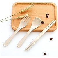 XeibD Set de Cubiertos de 3 Piezas/Set Houshoud Portable Fork Spoon Chopsticks (Beige)