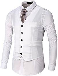LIANIHK Moda Clásico Waistcoat Chaleco Hombre Blazers Sin Mangas 5 colores