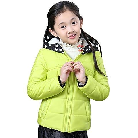 Griffin Invierno Chica Niño más terciopelo espesamiento cremallera con capucha corta párrafo capa de algodón abrigo de prendas de vestir (tres colores, cuatro tamaños para elegir) ( Color : Verde , Tamaño : 130cm )