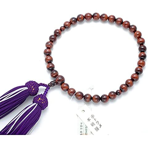 Kyoto-made Ojuzu Buddhist Prayer Beads, 8mm Red Tiger Eye with Genuine Kyoto Silk Tassel / Japanese Buddhist Rosary