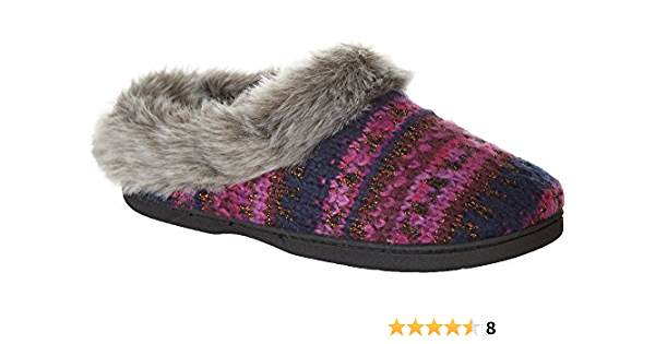 Dearfoams Womens Lurex Faux Fur Slippers Medium 7-8 Navy Blue//Purple