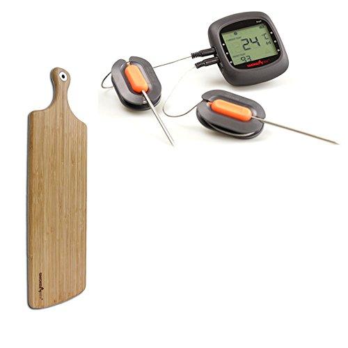 Smoke Max® PRO Set - Pro6 Bluetooth Smart Wireless BBQ application Barbecue Thermomètre + Smoke Max® L Grand plateau Planche à découper Design Planche à Découper en Bambou 100% naturelles
