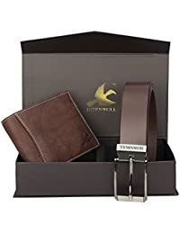 Hornbull Men's Brown Wallet and Brown Belt Combo BW9289