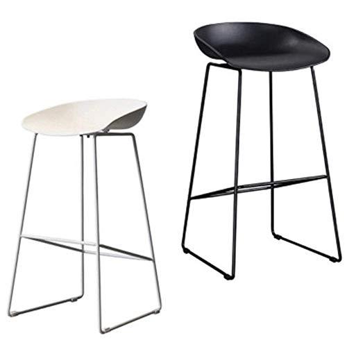 LFNIU 2 x Vintage rustikale Küche Pub Barhocker Set mit schwarzem Metallrahmen schwarz und weiß Pub Küche Counter Höhe -