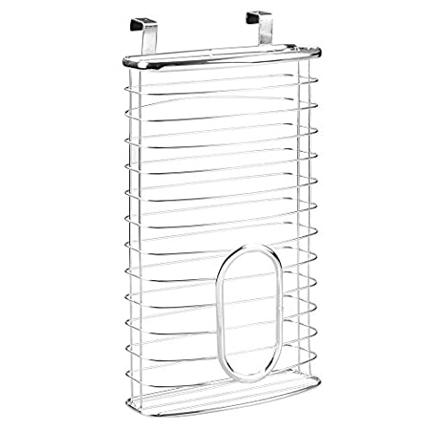 InterDesign Axis Kitchen Over Cabinet Plastic Trash and Waste Bags Holder, Chrome