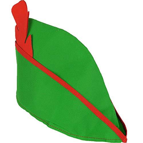 German Trendseller® 12x Robin Hood - Mütze - Deluxe ┃ Rote Feder ┃ Weicher Filz - Grün + Feder ┃ Fasching - Karneval - Party ┃ Robin Hood Spitz Hut - Deluxe Robin Hood Kind Kostüm
