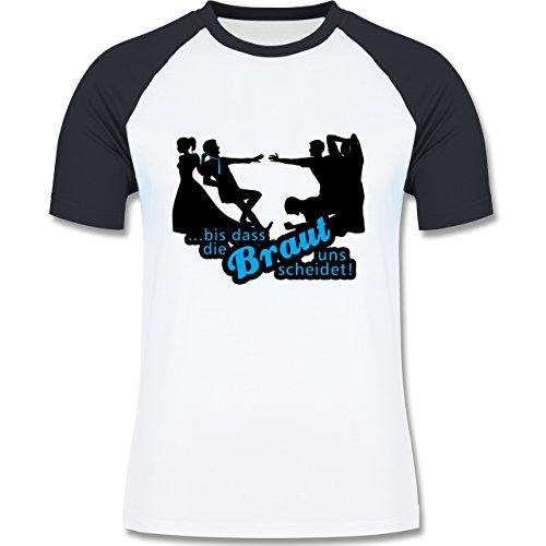 JGA Junggesellenabschied - Bis dass die Braut uns scheidet - zweifarbiges Baseballshirt für Männer Weiß/Navy Blau