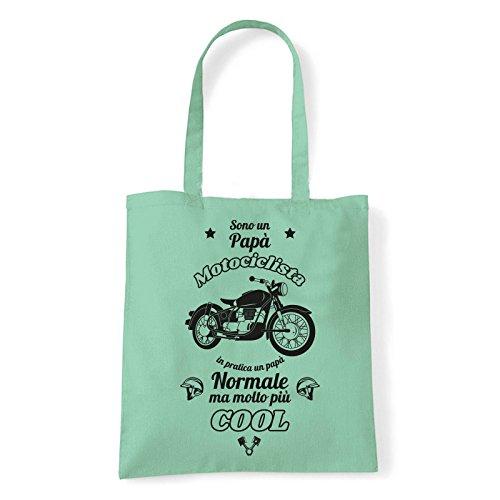 Art T-shirt, Borsa Shoulder Papà Motociclista, Shopper, Mare Menta