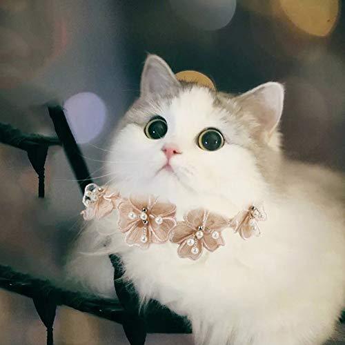 Katze Halsband Süß Einstellbar Weich Spitze Blume Spitze Bogen Krawatte Halsband Hündchen Haustier und Sicherheit Schnalle,S