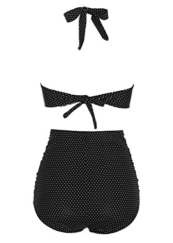 MissTalk Damen Retro Bikini Set Selbst binden Strap tiefe V Neck Anker Dot Print dehnbar hohe Taille Badeanzug (L, Schwarz-Dot) -