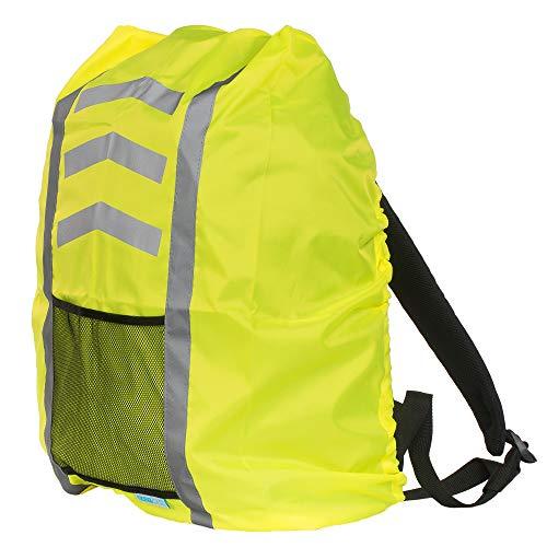 EAZY CASE Rucksack Schulranzen Regenschutz, Schutzhülle mit Reflektorstreifen, Regenüberzug I Regenschutzhülle wasserabweisend mit Reflektor und Tasche für mehr Sicherheit im Straßenverkehr, Gelb