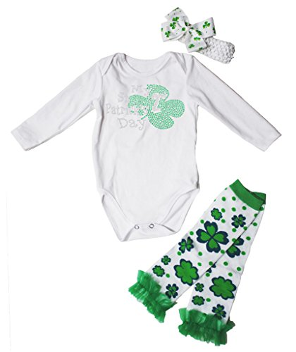 Patrick Kleidung St Kleinkinder Für (My 2nd St Patrick Day Dress L/s Cotton Jumpsuit Leafs Leg Warmer 3pc Set Nb-18m (12-18 Monat,)