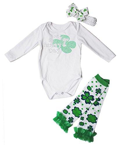St Kleidung Patrick Für Kleinkinder (My 2nd St Patrick Day Dress L/s Cotton Jumpsuit Leafs Leg Warmer 3pc Set Nb-18m (12-18 Monat,)