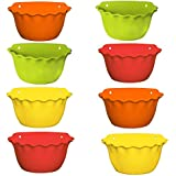 Meded Garden Essential Plastic Wall Mounted Balcony Platinum Planter Pots (9 inch, Red, Yellow, Green, Orange, Pack of 8)