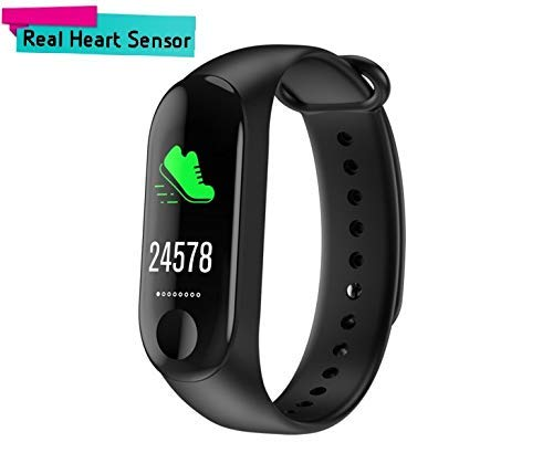 Xiaomi Mi 6X Compatible Smart Fitness Band 3 Activity Tracker   Fitband with OLED Heart Rate Monitor, Health Activity, Smart Bracelet Wristband - Black